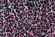 "Leopard Print Crushed Panne Velvet Hot Pink & Black 60"" Wide Fabric by the Yard"