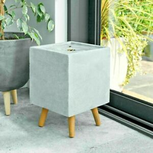 Plug In Outdoor Indoor Square Stone Effect Water Fountain Feature + LED Lights