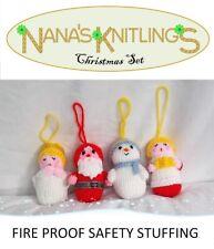 KNITTED CHRISTMAS TREE DECORATIONS ANGEL CHOIRBOY SNOWMAN SANTA HANDMADE