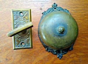 Antique Victorian Ornate Mechanical Doorbell & Fancy Brass Twist Set c1885