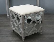 New White Wash  Mirrored Dresing Table Stool Footstool