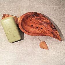 Soap Dish Leaf Shape Olive Wood / Soap Safer / Holder, perforated, handmade