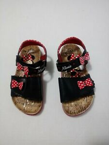 Disney Girls Hook And Loop Strap Minnie Mouse Sandals Size 12