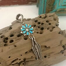 Navajo Sterling Silver Turquoise Concho Feather Cluster Dangle Slide Pendant
