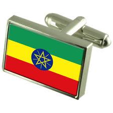 Etiopía Bandera Gemelos de plata esterlina