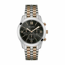 Bulova Men's Two Tone Stainless Steel Chronograph Black Dial Analogue Watch