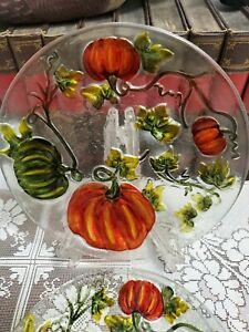 Pier 1 Pumpkin Harvest Glass Plates Set of 2