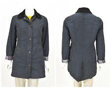 Womens Barbour Belsay Waxed Coat Jacket Blue Classic Zip Size 10UK / 36