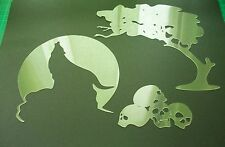 W2 WOLF NIGHT ROCK MOON TREE SKULLS Airbrush Stencil Template Paint Craft Animal