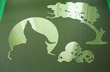 W2 LUPO notte rock MOON ALBERO TESCHI Aerografo Stencil template VERNICE Craft animale