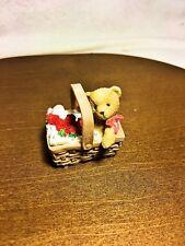 Cherished Teddies Tiny Treasured Bear in a Basket With Strawberries 2002 Nib