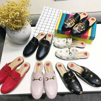 Womens Backless Mules Shoes Embroidery Slipper Real Leather Loafers Horsebit New