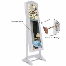 White Dressing Mirror Jewelry Cabinet Armoire Organizer Storage Box Floor Stand