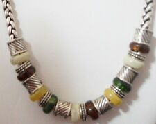 Napier Silver Plated Wheat Chain Necklace w/ Green, Yellow, Amber & Cream Beads