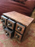Vintage Carved Indian Wooden Trinket Box Six Drawers