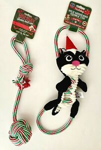 NWT 2 Bow Wow Pet Christmas Toys for Dogs Large Rope Toy & Kitty Cat Rope Toy