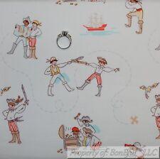 BonEful FABRIC FQ Cotton Quilt VTG White Blue Red Boy Pirate Ship Nautical Retro