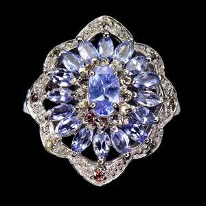 Unheated Oval Tanzanite Sapphire Diamond Cut 925 Sterling Silver Ring Size 9