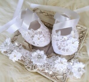 Baby Girl White Christening Shoes Baptism Shoes Satin Flower Sequins Headband