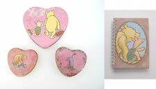 Winnie the Pooh & Co. Lot of 3 Heart Tins + Pooh & Piglet Notebook Authentic New