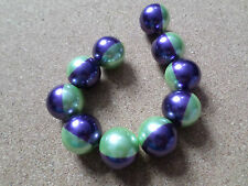 10 x 2-Colour Glass Pearl Beads - Round - 18mm - Lime Green/Purple