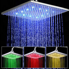 "Contemporary Chrome 8"" inch LED Colour Changing Shower Head 12"" Square Bathroom"
