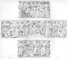 FAMOUS PAINTERS OF WORLD RAPHAEL MONET RUBENS DAVINCI ~ 1874 Art Print Engraving