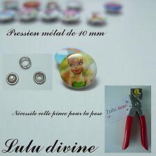 Lot de 5 jeux / 5 pressions en métal (20 pièces) de 10 mm : La fée clochette