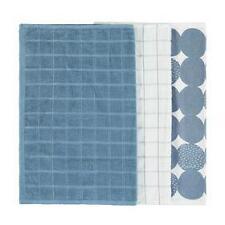 Set of 3 Coastal Chic Tea Towels Sea Green, Blue & White Cotton 45cm x 60cm