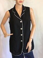 Women's Jacket Linen Blend Black White Trim Sleeveless Metropolitan New York  6