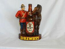 Vtg 1950s Drewrys Beer Chalkware Advertising Display Canadian Mountie & Bottle