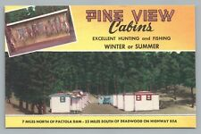 """Pine View Cabins DEAD DEER """"Excellent Hunting—Fishing"""" Deadwood SD Vintage 40s"""