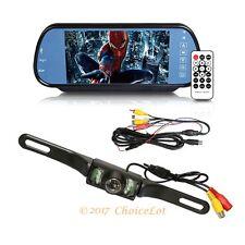 "7"" Bluetooth Rearview Parking System Car Reversing Mirror Kit + Night IR Camera"