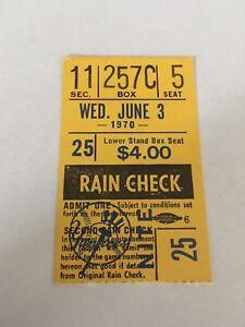 Amos Otis HR #6 Home Run 1970 6/3/70 Yankees Royals Ticket Stub 6,891 Fans