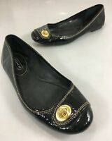 Coach Womens 8.5B Noel Black Patent Leather Ballet Flats Brass Turnlock