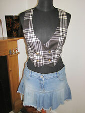 LULU AND RED WAISTCOAT WAIST COAT CHECK MONOCHROME TOP 8-10 RP£50 emo hot topic