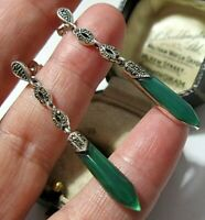 Beautiful Art Deco Style Sterling Silver Marcasite Green Onyx Long Drop EARRINGS