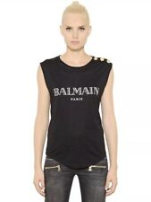 Balmain Black Cotton Logo T Shirt Gold Button Military Designer Top Shirt EU 34