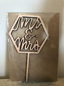 "Mr and Mrs Wedding Cake Topper for Wedding Wooden Decor 7"" NIP"
