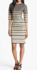 ALICE BY TEMPERLEY Sequin Stripe Metallic Tulle Shift 3/4 Sleeves Dress 6 $695