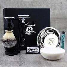 Black 5 Piece Shaving Set | DE Safety razor  & Synthetic Brush | Men's Gift Kit