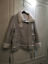 BNWT GREY SUEDE AND FUR LOOK JACKET SIZE 18