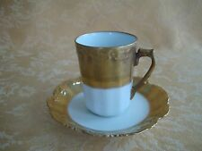 Antique LS & S Limoges France Chocolate/Tea Cup & Saucer Set White W/ Heavy Gold
