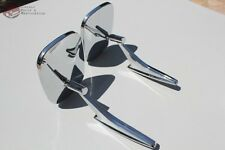 Pair Chevy Rectangle Ribbed Base Outside Rearview Door Mounted Mirrors Set New