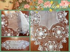 Antique Vintage Handcrafted Organdy Hairpin Lace Runner Dresser Scarf Doily 29x9