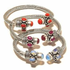Wholesale Lot !! 5 PCs. CORAL & OPALITE Sterling Silver Plated Cuff Bracelet