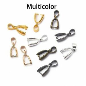 10x Sterling Silver Finding Bails Connector Bale Pinch Jewelry Clasp Pendant