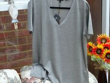 Massimo Dutti Antique Grey 100% Mulberry Silk Top Size L UK 14  New  Very Nice