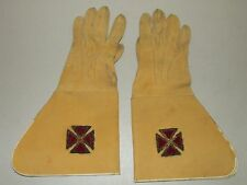 Antique Victorian Masonic Freemason Gauntlet Uniform Maltese Cross Dress Gloves