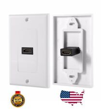 1-Port Dual HDMI Wall Face Plate Panel Cover Outlet 1080P 4K ARC HDR White